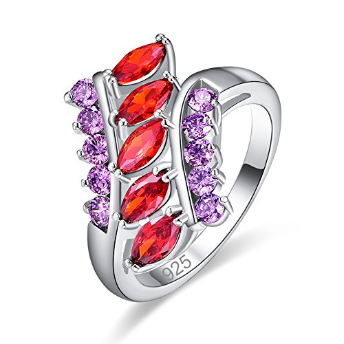 Veunora 925 Sterling Silver Garnet and Amethyst Filled Cluster Ring for Women