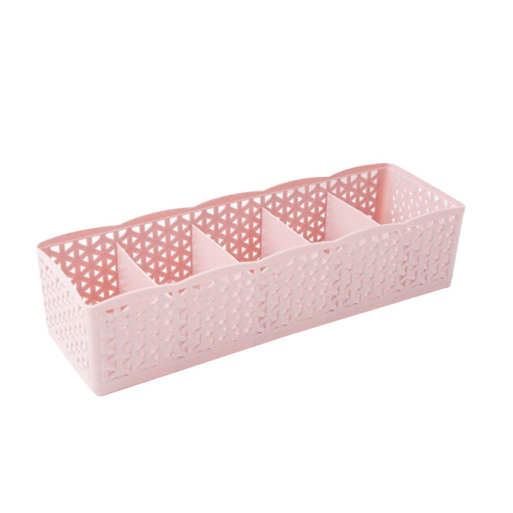 5 Cells Plastic Organizer Storage Box, Aobiny Tie Bra Socks Drawer Cosmetic Divider Tins (Pink)