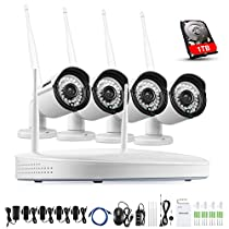 ANNKE 4CH Auto-Pair Network/IP Security Camera System, 1080P HD NVR with 1TB HDD and 4x 960P 1.3MP WIFI Indoor Outdoor IP Cameras, Superior Night Vision, Easy Remote Access