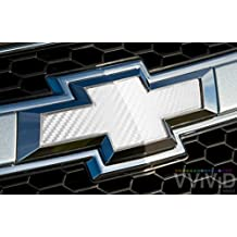 "VVIVID White Carbon Fibre Auto Emblem Vinyl Wrap Overlay Cut-Your-Own Decal for Chevy Bowtie Grill, Rear Logo DIY Easy to Install 11.80"" x 4"" Sheets (x2)"