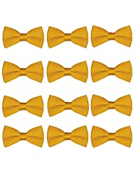 Boys Wedding Bow Tie 12 Pack Children Bowties Kids Tuxedo Solid Ties