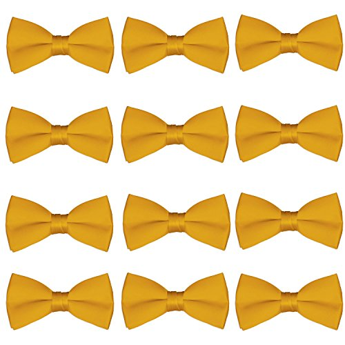 Gold Bowties - Men's Bow Tie Wholesale 12 Pack Pre-Tied Formal Tuxedo Bowties Wedding Solid Ties (Gold)
