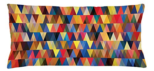 Lunarable Abstract Triangle Throw Pillow Cushion Cover, Funky Bohemian African Art Pastel Retro Mosaic Vibes Contemporary Motif, Decorative Square Accent Pillow Case, 36 X 16 Inches, (Contemporary Retro Palette)