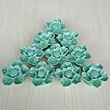 SunKni 41mm 10Pcs Lotus Flower Floral Knobs Ceramic Drawer Handles Pulls for Wardrobe Cupboard Dresser Cabinet Closet Kitchen Furniture with Free Screws 2016 New Sets Pack of 10 (Green)