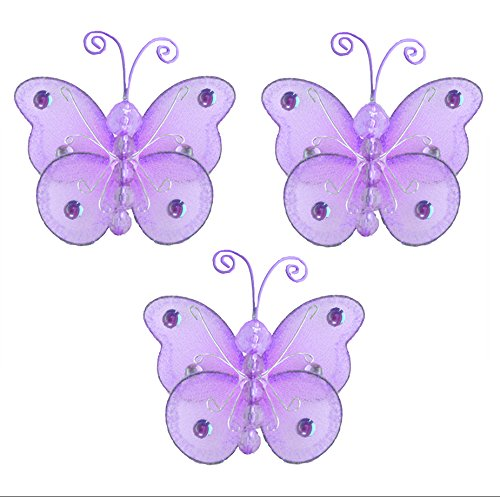 "3"" Purple Mini  Wire Bead Butterfly Butterflies 3pc set - ha"