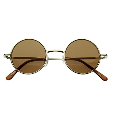 bcf351f440 zeroUV - Small Retro-Vintage Style Lennon Inspired Round Metal Circle  Sunglasses (Gold)