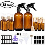 PrettyCare Glass Spray Bottle and Essential Oils Roller Bottles Set Amber ( 16 oz * 2 + 2 oz * 4 + 10ml *6 with Golden Caps, Labels, Funnels, Eye Dropper) Small Fine Mist Sprayer Bottles and Roll on Bottle, Refillable Container for Cleaning Products or Aromatherapy