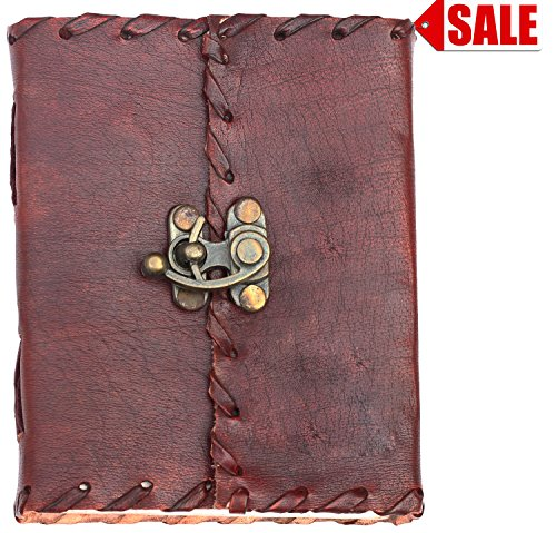 "PRIME SALE WEEK – 4 x 5"" Olde Worlde Genuine Leather Journal – Notebook / Sketchbook / Scrapbook / Travel Diary with Handmade Paper, Brown – Unique G…"