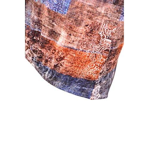 NAVIGAZIONE 3//4 Arm Shirt 40 weiß grau gestreift Sterne Print Baumwolle