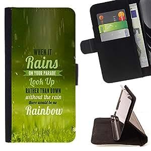 BullDog Case - FOR/Samsung Galaxy A3 / - / WHEN IT RAINS - TYPOGRAPHY /- Monedero de cuero de la PU Llevar cubierta de la caja con el ID Credit Card Slots Flip funda de cuer