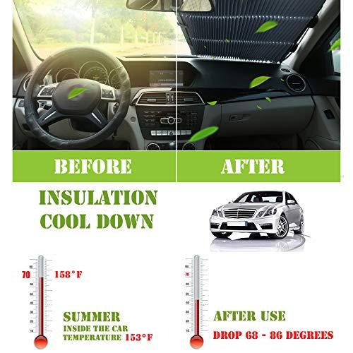 ASK New Upgraded Car Curtains car Sunshade Automatic Telescopic Front Windshield Sun Visor Sunscreen Insulation Sunshade Visor Anti-Theft Panel 5558988120