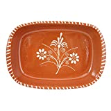 Vintage Portuguese Traditional Clay Terracotta Pottery Roasting Tray Made In Portugal (N.1 11 5/8 x 7 1/2 x 2 1/8