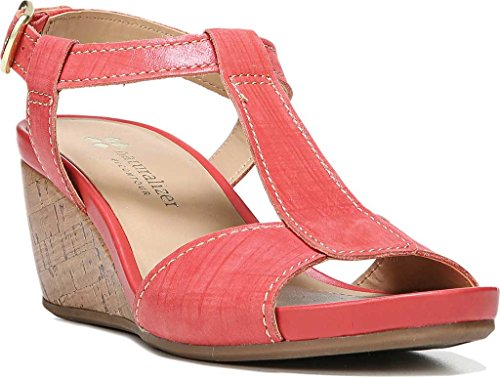 Naturalizer Womens Camilla T-Strap Wedge Sandal,Punch Plaid Embossed Leather,US by Naturalizer