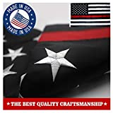 VSVO Thin Red Line American Firefighter Flag 3×5 ft with Embroidered Stars and Sewn Stripes with Grommets Black Red and White US Flag