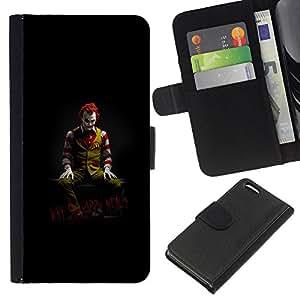 Apple iPhone 5C , la tarjeta de Crédito Slots PU Funda de cuero Monedero caso cubierta de piel (Funny - Joker - Why So Happy Meal)