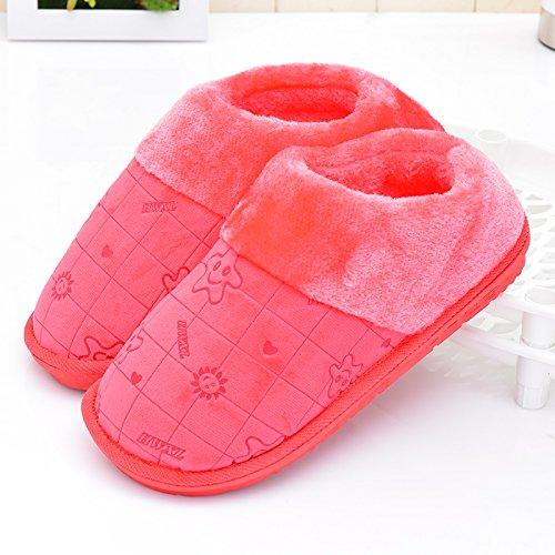 Fankou inverno pacchetto comfort con Dot scarpe di cotone uomini e donne paio di pantofole di cotone home pianale interno caldo ,41-42, stella di mare pacchetto con viola