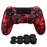Cheap YoRHa Water Transfer Printing Skull Silicone Cover Skin Case for Sony PS4/slim/Pro controller x 1(red) With Pro thumb grips x 8