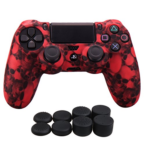 Price comparison product image YoRHa Water Transfer Printing Skull Silicone Cover Skin Case for Sony PS4 / slim / Pro controller x 1(red) With Pro thumb grips x 8