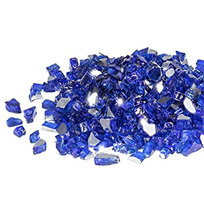 GASPRO 10-Pound Fire Glass - 1/2 Inch Reflective Tempered Fireglass with Fireplace Glass and Fire Pit Glass, Cobalt Blue Reflective