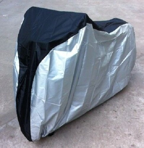 Bicycle Cover Rain Proof Dustproof Sun UV Protective Heavy Duty Bike Seat Covering Foldable Breathable Extra Large Outdoor cover XL 200x70x110cm + [Storage Bag] [Polyester + PU] Black+Silver (Bike Accesories Bags compare prices)