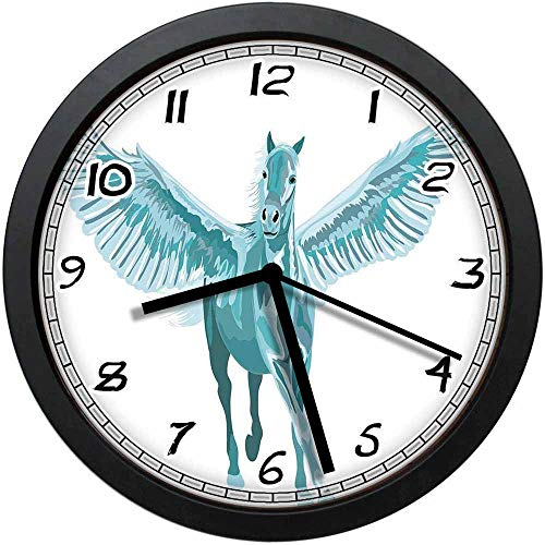 BCWAYGOD Artistic Blue Pegasus Horse with Open Wings Fantasy Mystery Myth Flight Non-Ticking Wall Clock Silent Home Decor Battery Operated Clock 10 Inch ()