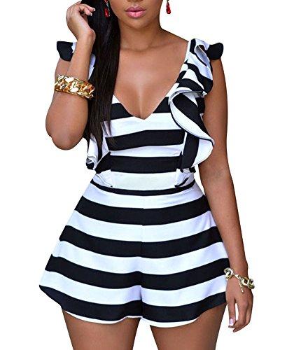 Cfanny Women's Stripes Ruffle Sliky Backless Romper Jumpsuit Playsuit,Black white,Large