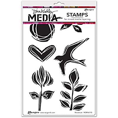 "Brand New Dina Wakley Media Cling Stamps 6""""X9""""-Woodcuts Brand New"