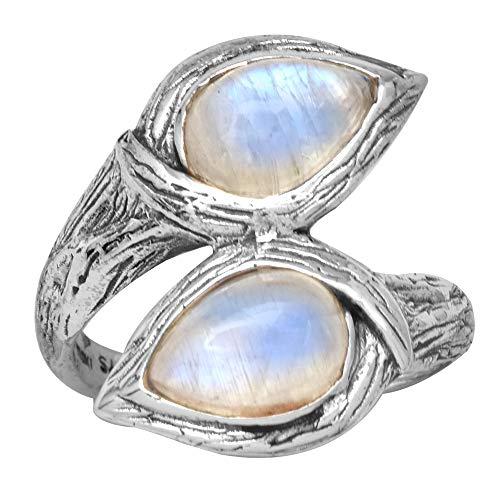 YoTreasure Rainbow Moonstone 925 Sterling Silver Rings Silver Jewelry