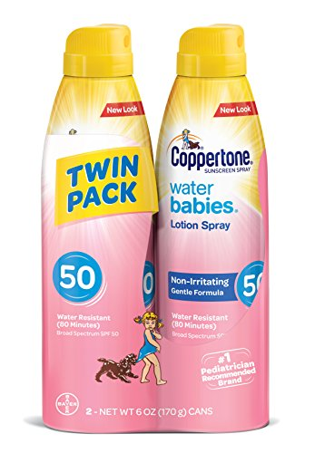 Price comparison product image Coppertone WaterBabies Sunscreen Quick Cover Lotion Spray Broad Spectrum SPF 50 (6-Ounce per Bottle, Pack of 2)