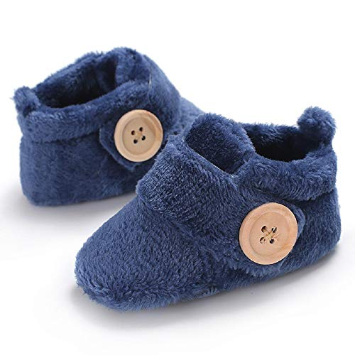 Baby Premium Soft Sole Anti-Slip Shoes Mid Calf Warm Winter Infant Prewalker Toddler Snow Boots (12-18 Months, A-deep Blue)