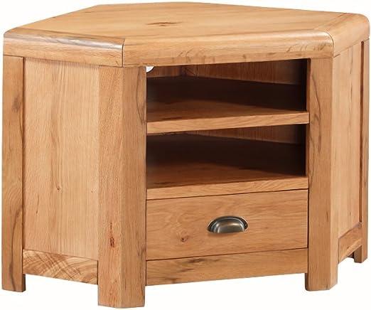 The One Oakville – Mueble de Esquina para televisor de Roble Macizo rústico Armario de Esquina para