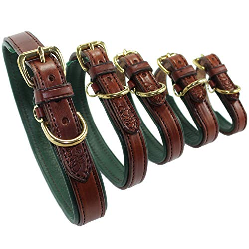 (2 Red Dogs Medium Brown Leather Collar with Hunter Green Leather Lining - Amish Made in The USA)