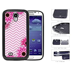 Pink and White Chevron Pattern with Pink Flower Daisy in Corners Background Samsung Galaxy S4 i9500 (2-piece) Dual Layer High Impact Cell Phone Case
