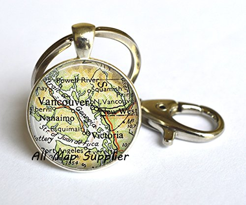 Charming Keychain Vancouver, British Columbia map Keychain, Vancouver map Keychain, Victoria map Key Ring, A0089