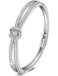"Wedding Anniversary Gifts""California Grace""7 Inches Charm Women Love Bangle Bracelets with Swarovski Crystals Birthday Jewelry for Wife Girls Mom"
