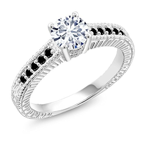 Moissanite Vintage Ring (925 Sterling Silver Solitaire w/ Accent Stones Ring Timeless Brilliant Round (IJK) 0.97ct (DEW) Created Moissanite and Diamond)