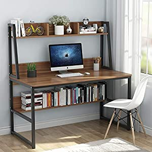 Tribesigns Computer Desk with Hutch and Bookshelf, 47″ Home Office Desk with Space Saving Design for Small Spaces, Retro Brown