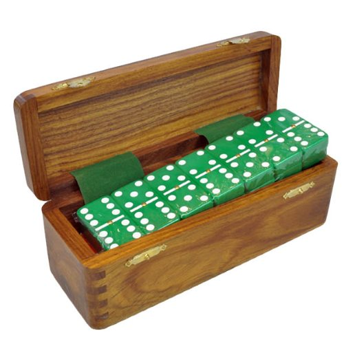 Domino Double Six Green in Dovetail Jointed Sheesham Wood Box - Jumbo Tournament Size with Spinners Marion & Co