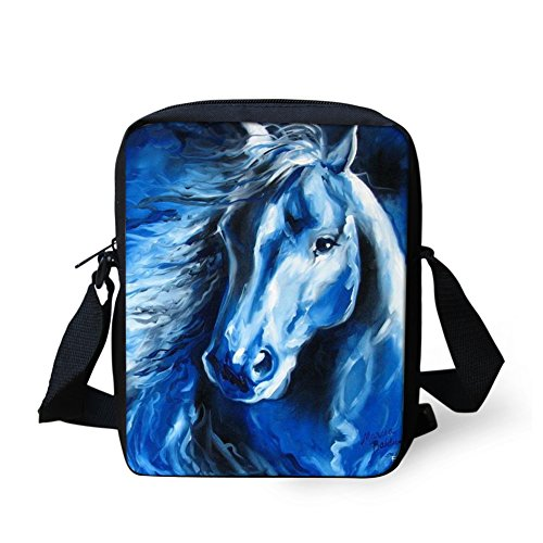 HUGS IDEA Blue Horse Printed Small Shoulder Messenger Bag Single Cross Body Bags Cellphone Pouch Wallet Purse Bag Fashion Camera Wallet