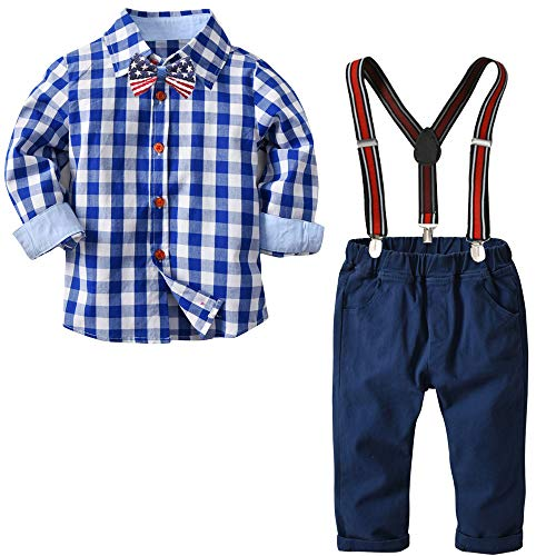 Yilaku Long Sleeve Shirt Gentleman Suspender Pants Clothing Set Overalls Romper Jumpsuit Clothes Toddler Outfit(Gentleman Blue 3-4T)