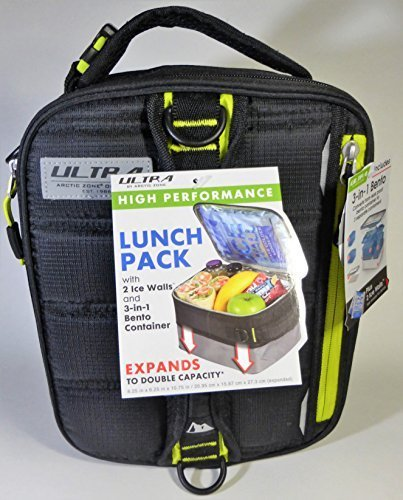 Expandable Lunch Pack Ultra Arctic Zone Bento Containers 2 Ice Packs Black - Box Black Pack