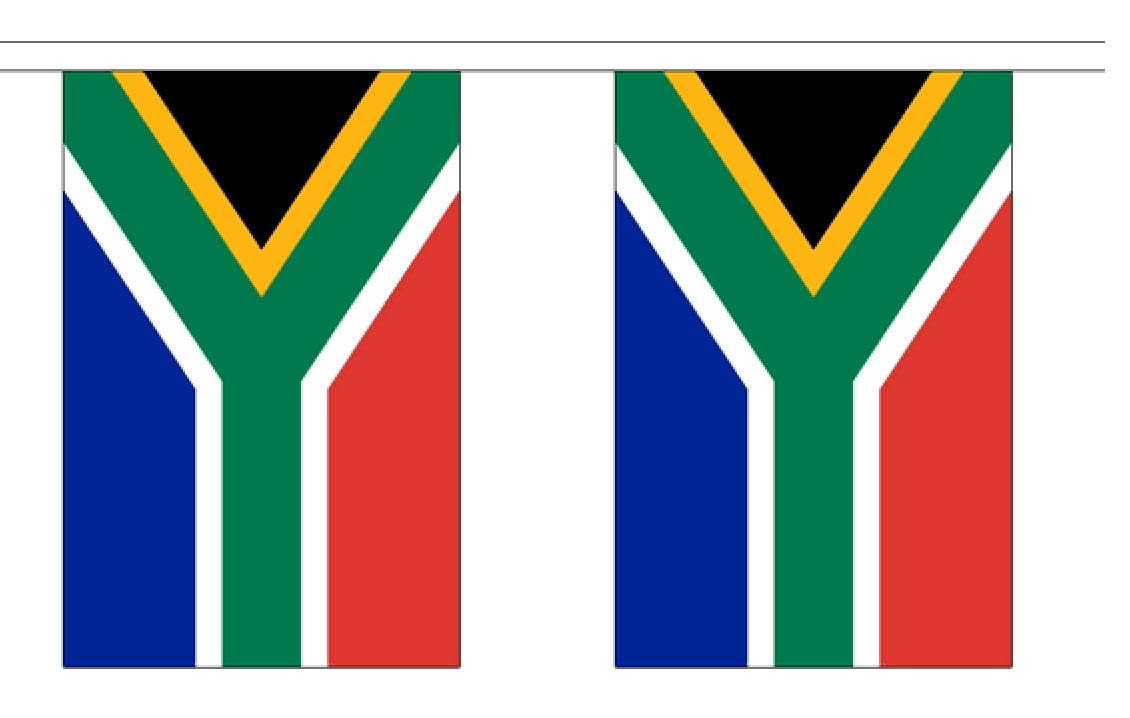10' South Africa String Flag Party Bunting Has 10 South African 6''x9'' Polyester Banner Flags Attached, Popular for School Classroom, Bars, Restaurants, World Cup Theme Parties