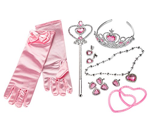 Princess Dress Up Toy - 12-Pack Girl Pink Costume Set, Tiara, Wand, Necklace, Bracelets, Earrings, Rings, and Gloves ()