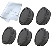 Fotasy RBC5 5x Rear Lens Cover and Camera Body Cap Set with Cleaning Cloth for Canon EOS DSLR (Black)