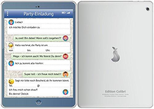12-er-Set lustige Tablet-Einladungskarten (10730) mit WhatsApp-Nachricht und Smileys (Emojis) zum Kindergeburtstag von EDITION COLIBRI © - umweltfreundlich, da klimaneutral gedruckt