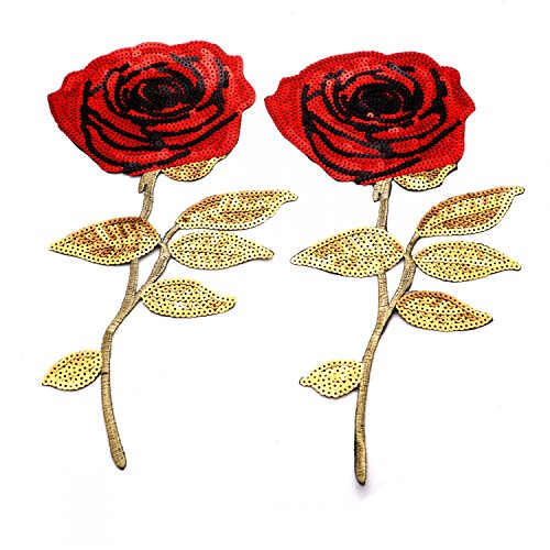 HUELE 2Pcs Extra Large Rose Pattern Sequin Decorative Applique Iron-on or Sew-on Patch For DIY Clothing Decoration