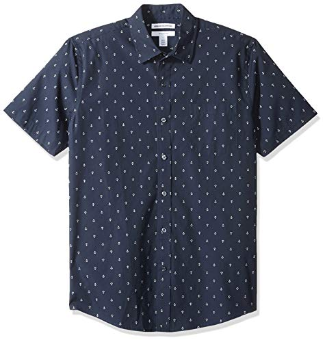 - Amazon Essentials Men's Slim-Fit Short-Sleeve Print Shirt, Anchor, Small