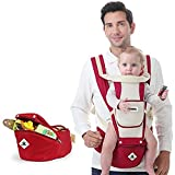 Toddler Baby Carrier Ergonomic Child Carrier with Hip Seat for All Seasons Baby Carrier with Hood Front and Back Adjustable Straps Perfect for Nursing Hiking and Traveling (Red)