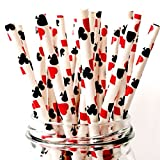 Free DHL 500 pcs Red Casino Paper Straws Bulk, Cute Fun Queen of Hearts Playing Cards Patterned Paper Drinking Straws for Beverage, Holiday Party, Wedding, Birthday, Poker Night Mason Jar Straws