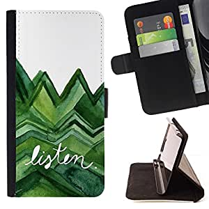For Sony Xperia Z1 Compact / Z1 Mini (Not Z1) D5503 Case , Escuchar árboles verdes de la acuarela Lagarto Blanco- la tarjeta de Crédito Slots PU Funda de cuero Monedero caso cubierta de piel